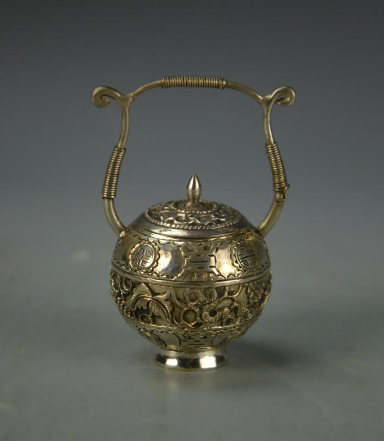Chinese Mini Silver Jar