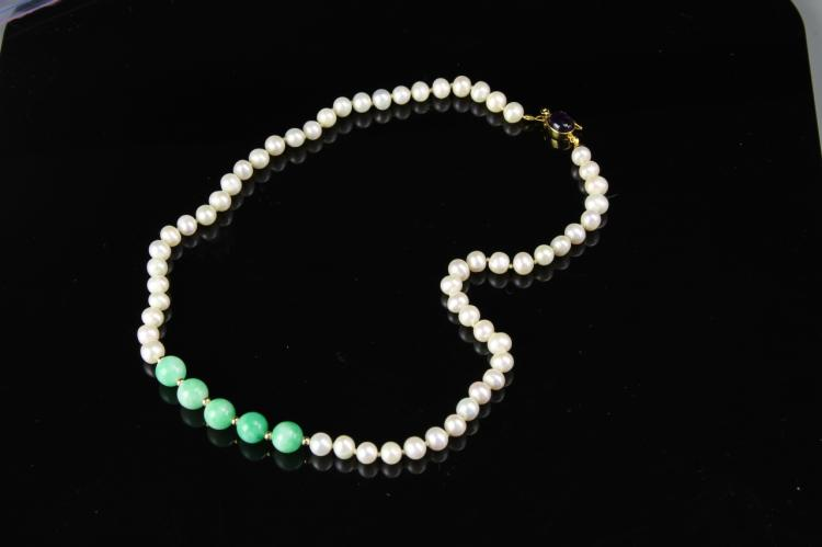 Chinese Pearl and Jadeite Necklace