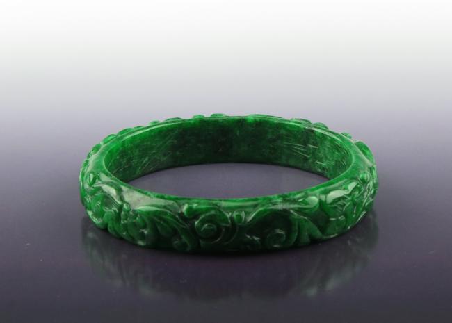 A Green Jade Carving Bangle