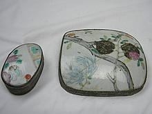 LOT 2 ANTIQUE CHINESE SILVER PORCELIAN BOXES