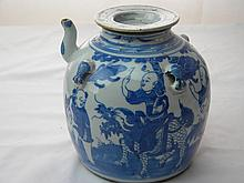 CHINESE ANTIQUE BLUE AND WHITE POT QING