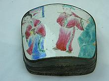 ANTIQUE CHINESE SILVER BOX WITH PORCELAIN COVER