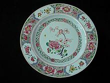 ANTIQUE CHINESE FAMILLE ROSE 18TH C. PLATE PLUM FLOWER