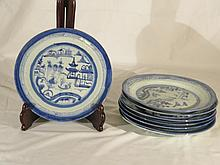 EIGHT OF CHINESE ANTIQUE BLUE AND WHITE PLATES