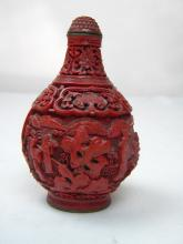 Antique Chinese Red Cinnabar Lacquer Snuff Bottle Marked Qianlong