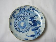 ANTIQUE ASIAN BLUE AND WHITE DRAGON PLATE MARKED