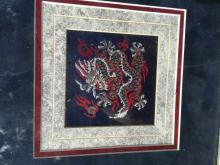Vintage Chinese Dragon Embroidery Framed