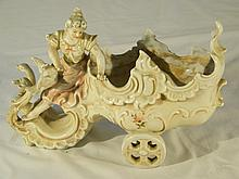 PORCELAIN LADY ON GEESE CART