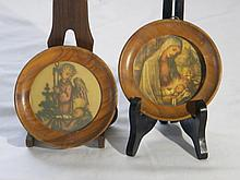 PAIR OF PAINTING ANGEL AND SAINT MARIA LOOKING JESUS