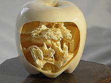 FINELY CARVED IVORY APPLE