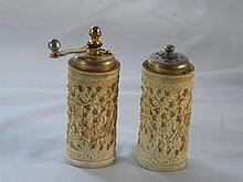 PAIR OF CHINESE CARVED IVORY PEPPER AND SALT SHAKER
