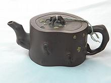 ANTIQUE CHINESE PURPLE CLAY ZISHA PLUM FLOWER TEAPOT