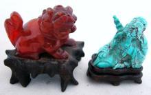 Antique Chinese Carnelian Foo Dog & Turquoise Buddha