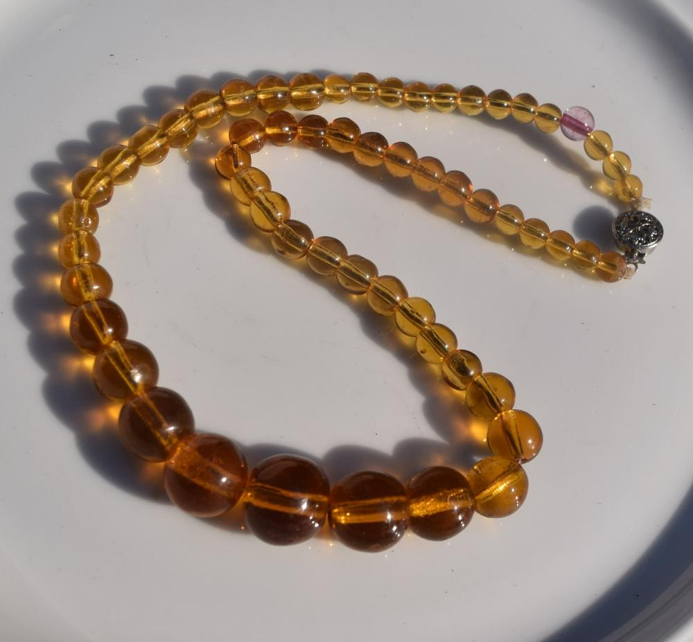 Vintage Amber Coloured Glass Necklace