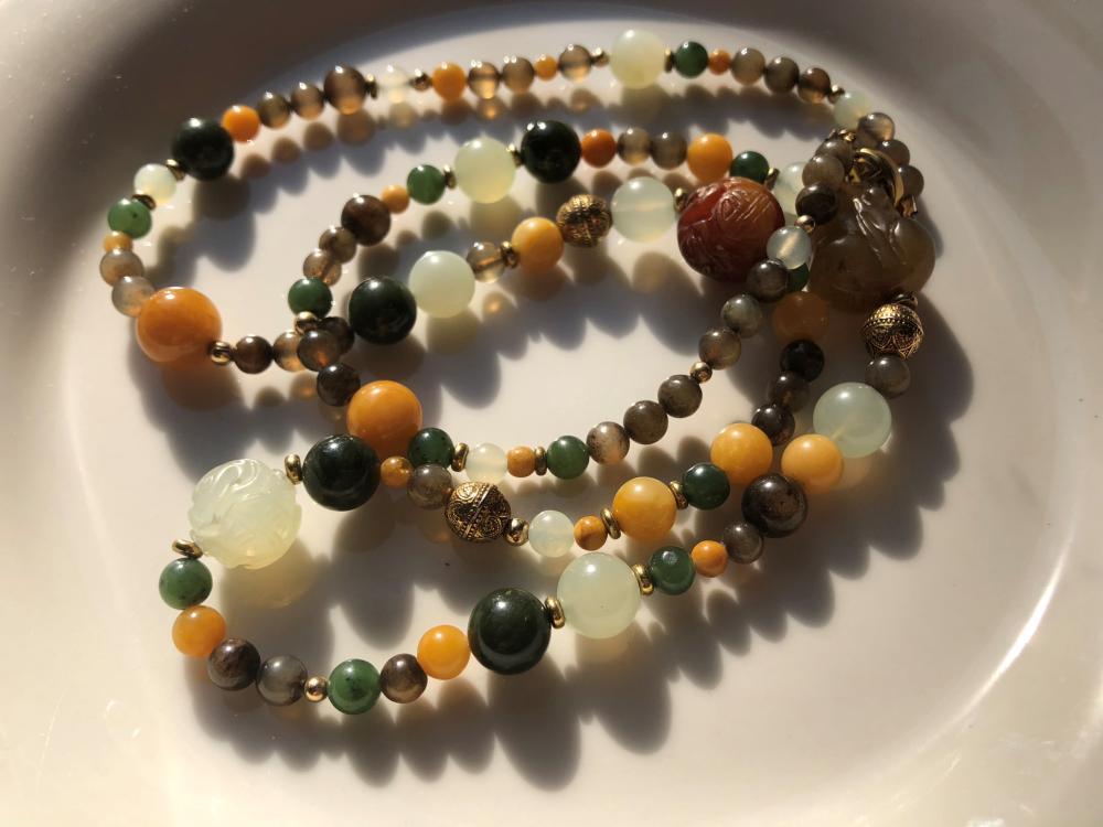 Vintage Jade Beads Necklace