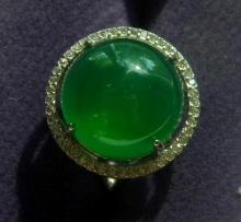 Natural Green Round Stone Ring