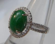 Natural Green Jadeite Ring
