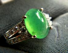 Grade A Icy Green Jadeite Ring, size 11.49 x 8.62mm