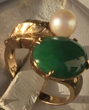 14K Yellow gold Green Jadeite and Pearl Ring