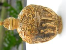 Antique Chinese Carved Bone Snuff Bottle