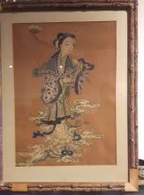 Antique Chinese Kesi Beauty Framed