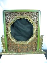 Antique Chinese Green Laqcuer Carved Mirror