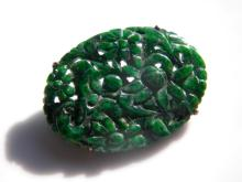14K Gold Antique Chinese Natural Jadeite Brooch Pin
