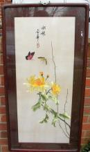 Vintage Chinese Flower Embroidery Framed