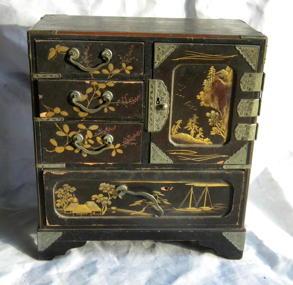 Antique Chinese Black Lacquer Cabinet