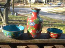 Three Antique Chinese Cloisonne Vase and Bowls