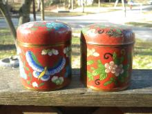 Pair of Red Cloisonne Tea Candy
