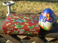 Antique Chinese Red Cloisonne Box and Egg