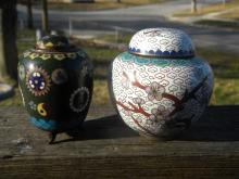 Two Antique Cloisonne Pots