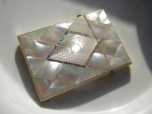 Antique Mother Of Pearl Name Card Case