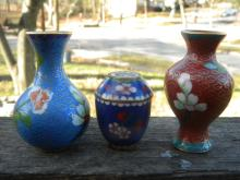 Three Vintage Chinese Cloisonne Vases