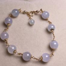 18K Gold Natural Purple Jadeite Bracelet