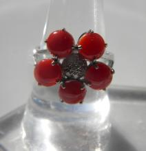 Natural Red Coral Flower Ring