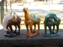Three Chinese Porcelain Horses