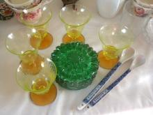 Set of Spoons, green glass box and Cups