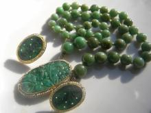 Set of 14K Gold Jadeite Necklace and Earrings