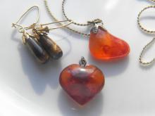 Antique Amber and Carnelian Pendant, Tiger Eye Earrings