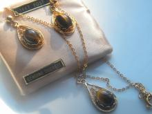 Set of Tiger Eye Earrings and Necklace