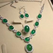 Set of Natural Green Stone Necklace, Ring and Earrings