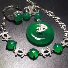 Set Natural Green Stone Earring,Ring,Bracelet,Pendant