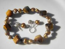 Vintage Tiger Eye Bracelet and pearl Earring Set