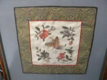 Antique Butterfly Embroidery Framed