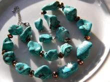 Set of Vintage Turquoise Necklace and Earrings