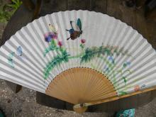 Antique Asia Butterfly Fan with Original Box, marked