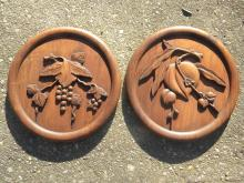 Pair of Antique Chinese Carved Rosewood Panels