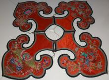 Antique Qing 19th Chinese Embroidered Silk Robe collar